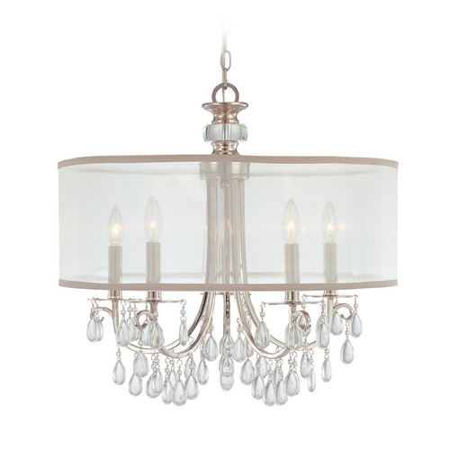 Crystorama Lighting Crystal Chandelier with White Shade in Polished Chrome Finish 5625-CH