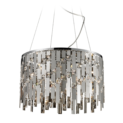 Elk Lighting Crystal Pendant Light in Chrome Finish 82035/9