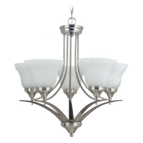 Sea Gull Lighting Chandelier with Alabaster Glass in Brushed Nickel Finish 31174-962