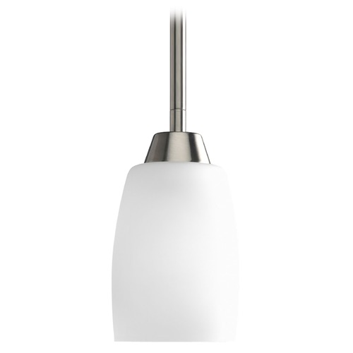 Progress Lighting Progress Mini-Pendant Light with White Glass P5108-09EBWB