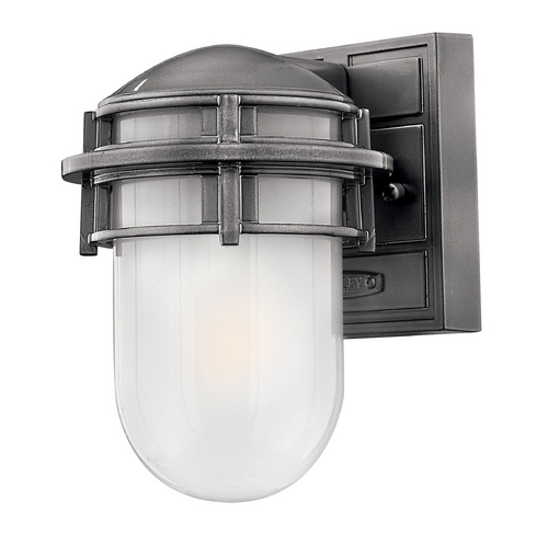Hinkley Lighting Outdoor Wall Light with White Glass in Hematite Finish 1956HE-GU24