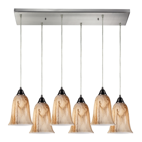 Elk Lighting Modern Multi-Light Pendant Light with Brown Glass and 6-Lights 31138/6RC