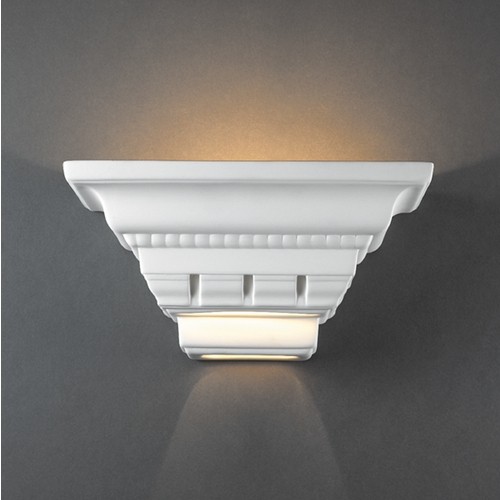 Justice Design Group Sconce Wall Light in Bisque Finish CER-1440-BIS