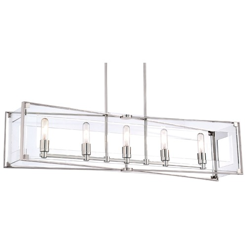George Kovacs Lighting George Kovacs Crystal Clear Polished Nickel Island Light with Rectangle Shade P1405-613