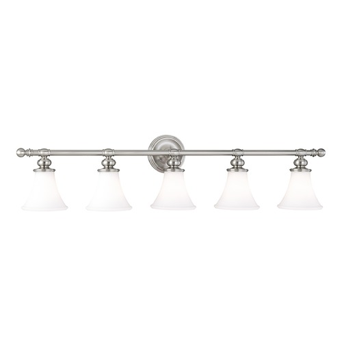 Hudson Valley Lighting Bathroom Light with White Glass in Satin Nickel Finish 4505-SN