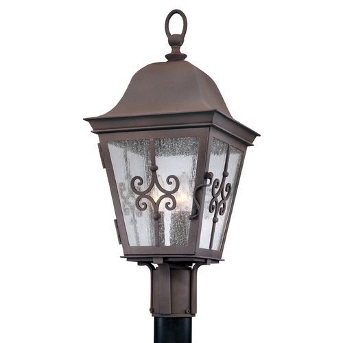 Troy Lighting Post Light with Clear Glass in Weathered Bronze Finish P2355WB