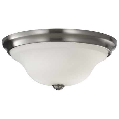 Feiss Lighting Modern Flushmount Light with White Glass in Brushed Steel Finish FM361BS
