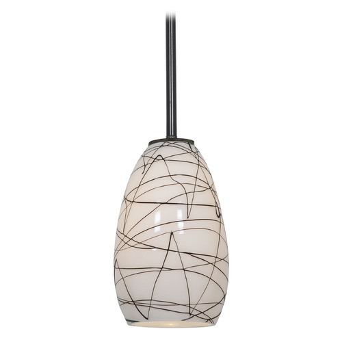 Access Lighting Modern Mini-Pendant Light with White Glass 28012-1R-ORB/BLWH