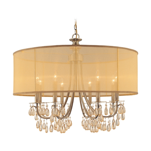 Crystorama Lighting Crystal Chandelier with Gold Shade in Antique Brass Finish 5628-AB