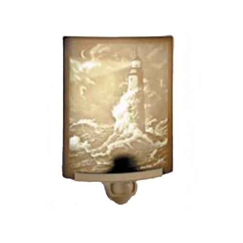 Porcelain Garden Lighting Lighthouse Night Light with Art Glass Porcelain Shade NR108