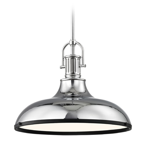 Design Classics Lighting Farmhouse Pendant Light Chrome with 15.63-Inch Wide 1764-26 SH1777-26 R1777-07