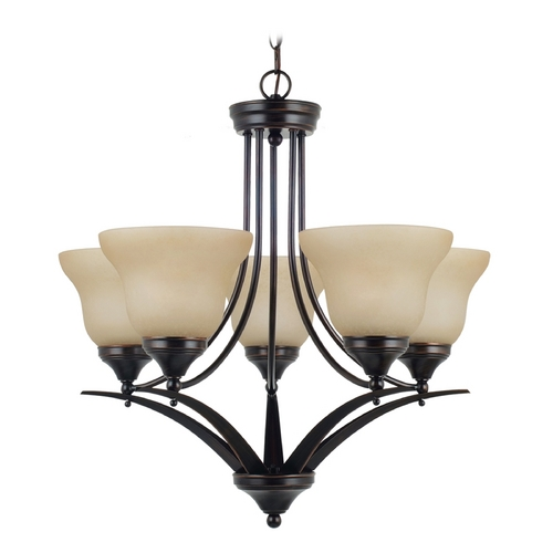 Sea Gull Lighting Chandelier with Amber Glass in Burnt Sienna Finish 31174BLE-710
