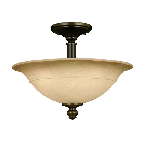 Hinkley Lighting Semi-Flushmount Light with Brown Glass in Olde Bronze Finish 4242OB