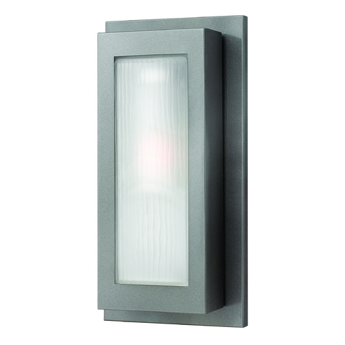 Hinkley Lighting Modern Outdoor Wall Light with White Glass in Hematite Finish 2054HE