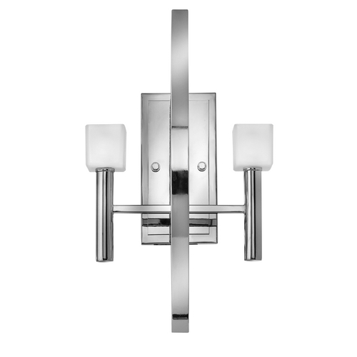Frederick Ramond Modern Sconce Wall Light with White Glass in Polished Chrome Finish FR49292PCM