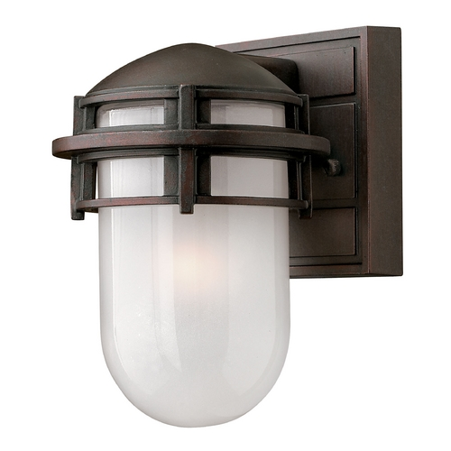 Hinkley Lighting Outdoor Wall Light with White Glass in Victorian Bronze Finish 1956VZ-GU24