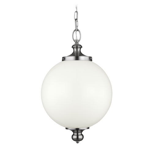 Feiss Lighting Feiss Lighting Parkman Polished Nickel Pendant Light with Globe Shade P1295PN