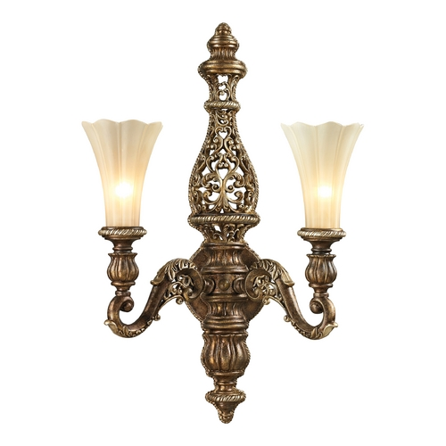 Elk Lighting LED Sconce Wall Light with Beige / Cream Glass in Burnt Bronze/weathered Gold Leaf Finish 11551/2-LED