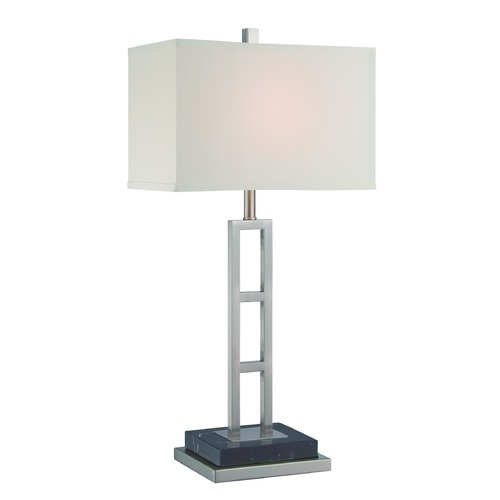 Lite Source Lighting Lite Source Lexine Polished Steel Table Lamp with Rectangle Shade LS-22457