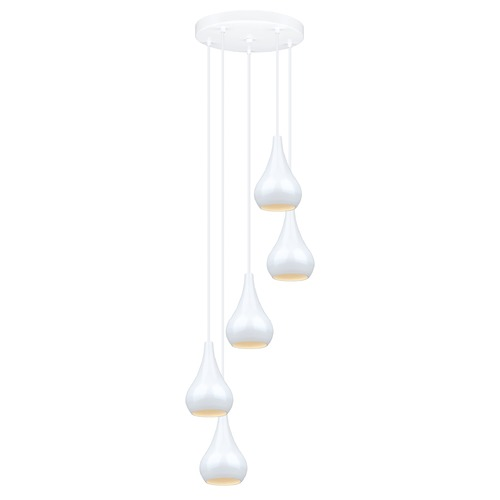 Eglo Lighting Eglo Nibbia White Multi-Light Pendant with Bowl / Dome Shade 92942A
