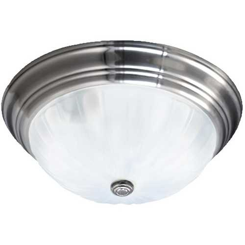 Quoizel Lighting Flushmount Light with White Glass in Empire Silver Finish ML184ES
