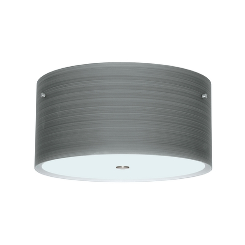 Besa Lighting Modern Flushmount Light with Grey Glass in Satin Nickel Finish 1KM-4008TN-SN