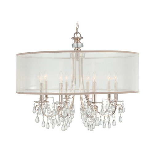 Crystorama Lighting Crystal Chandelier with White Shade in Polished Chrome Finish 5628-CH