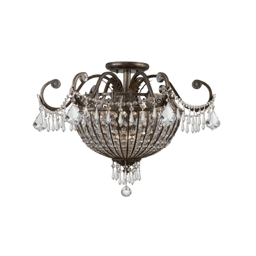 Crystorama Lighting Crystal Semi-Flushmount Light in English Bronze Finish 5165-EB-CL-MWP
