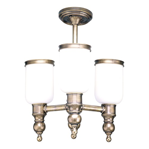 Hudson Valley Lighting Semi-Flushmount Light with White Glass in Antique Nickel Finish 6313-AN