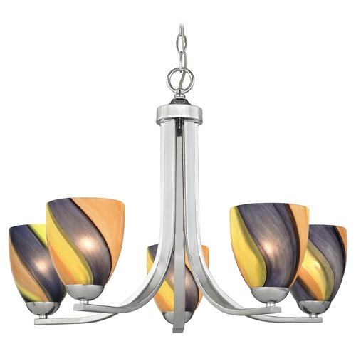 Design Classics Lighting Modern Chandelier with Art Glass in Polished Chrome Finish 584-26 GL1015MB