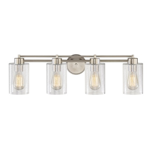 Design Classics Lighting Seeded Glass Bathroom Light Satin Nickel 4 Lt 704-09 GL1041C