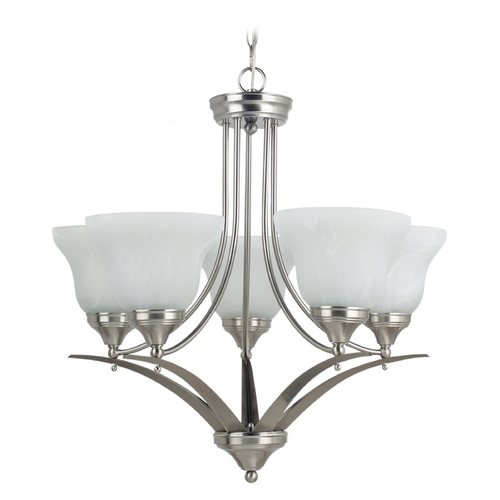 Sea Gull Lighting Chandelier with Alabaster Glass in Brushed Nickel Finish 31174BLE-962