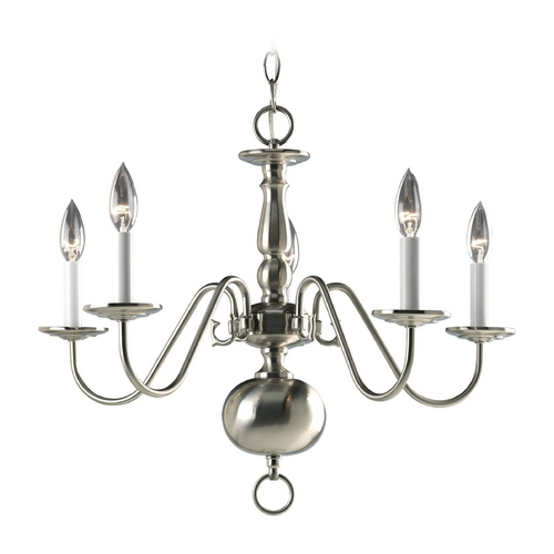 Progress Lighting Progress Five-Light Williamsburg Chandelier in Satin Nickel Finish P4355-09