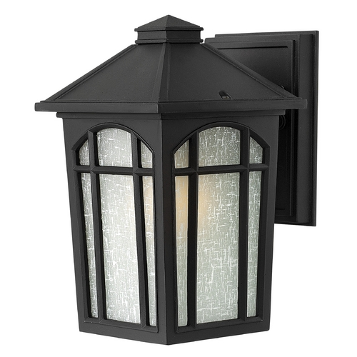 Hinkley Lighting Outdoor Wall Light with White Glass in Black Finish 1980BK-GU24
