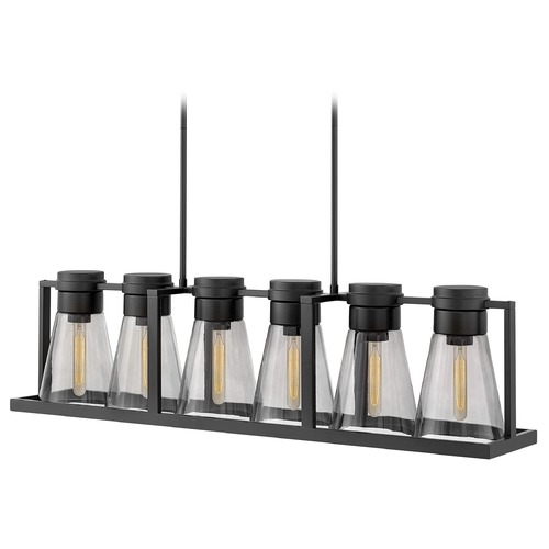 Hinkley Hinkley Refinery 6-Light Black Chandelier with Smoked Glass 63306BK-SM