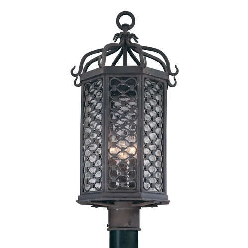 Troy Lighting Post Light with Clear Glass in Old Iron Finish P2375OI