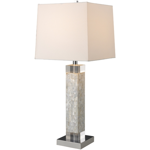 Elk Lighting Modern Table Lamp with White Shade in Mother Of Pearl Finish D1412