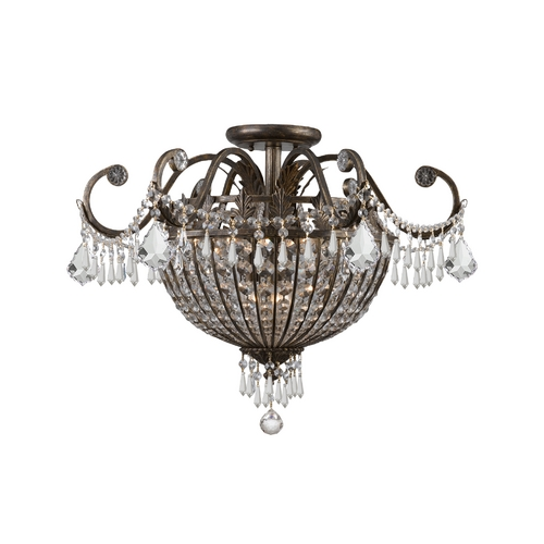 Crystorama Lighting Crystal Semi-Flushmount Light in English Bronze Finish 5167-EB-CL-MWP