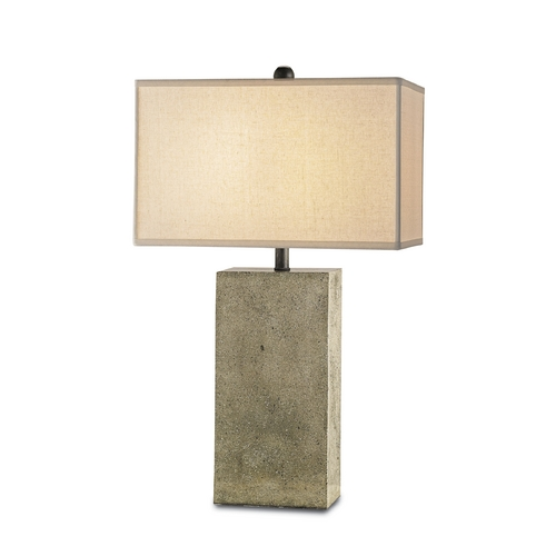 Currey and Company Lighting Modern Table Lamp in Polished Concrete/aged Steel Finish 6390