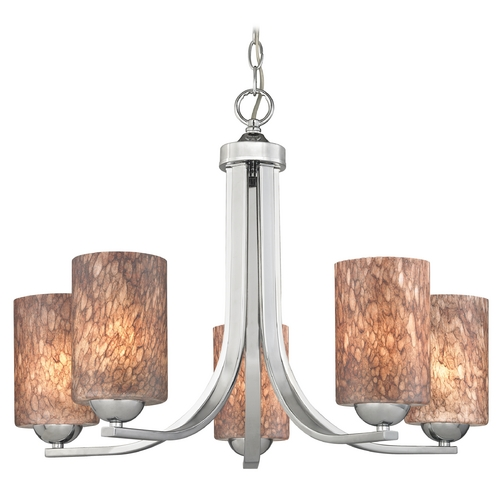 Design Classics Lighting Modern Chandelier with Brown Art Glass in Polished Chrome Finish 584-26 GL1016C