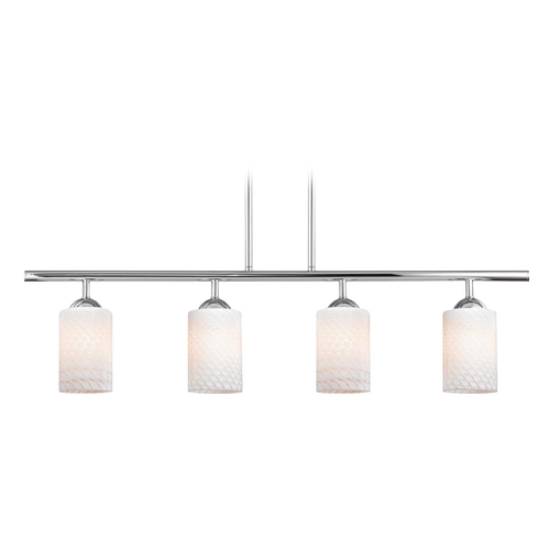 Design Classics Lighting Modern Linear Pendant Light with 4-Lights and White Glass in Chrome Finish 718-26 GL1020C