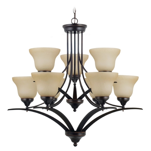 Sea Gull Lighting Chandelier with Amber Glass in Burnt Sienna Finish 31175-710