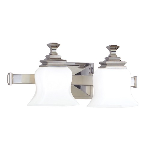 Hudson Valley Lighting Bathroom Light with White Glass in Polished Nickel Finish 5502-PN