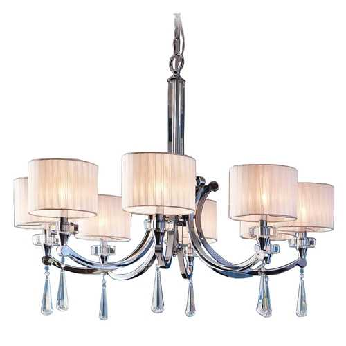 Kichler Lighting Kichler Modern Chandelier with White Shades in Chrome Finish 42632CH
