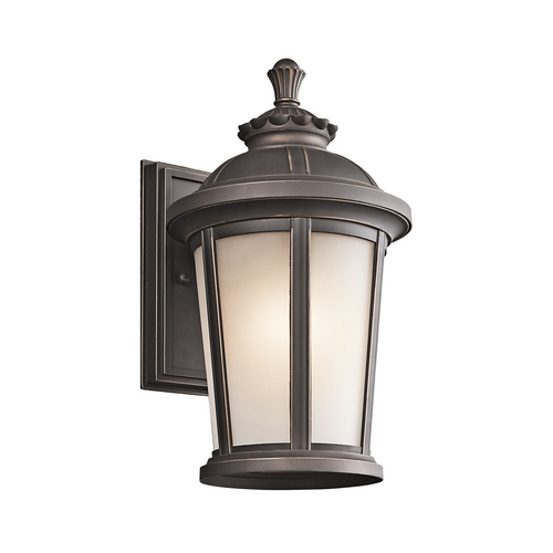 Kichler Lighting Kichler Outdoor Wall Light with White Glass in Rubbed Bronze Finish 49410RZ