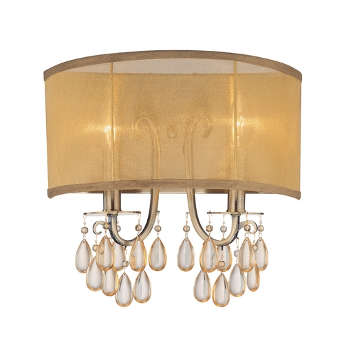 Crystorama Lighting Crystal Sconce Wall Light with Gold Shade in Antique Brass Finish 5622-AB