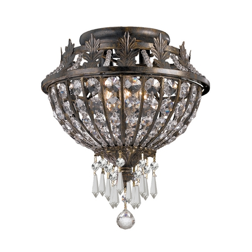 Crystorama Lighting Crystal Flushmount Light in English Bronze Finish 5163-EB-CL-MWP