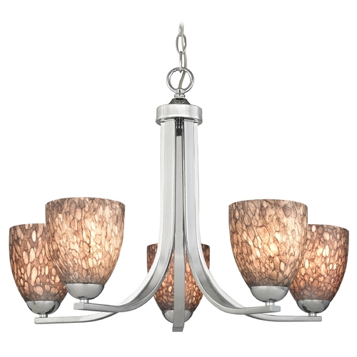 Design Classics Lighting Modern Chandelier with Brown Art Glass in Polished Chrome Finish 584-26 GL1016MB