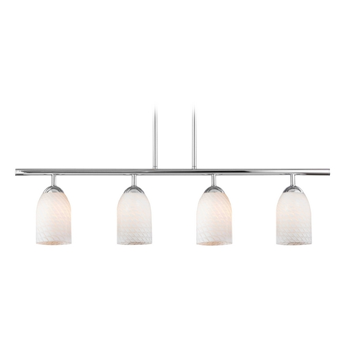 Design Classics Lighting Modern Island Light with White Glass in Chrome Finish 718-26 GL1020D