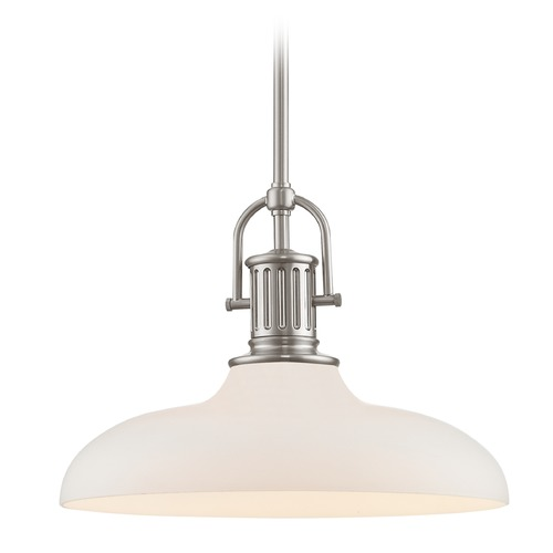 Design Classics Lighting Industrial Satin Nickel Pendant Light with White Glass 14-Inch Wide 1764-09 G1784-WH